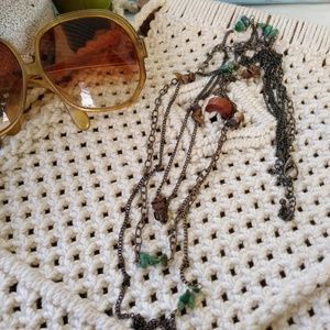 Jewelry - Long layered stone chain necklace bronze green